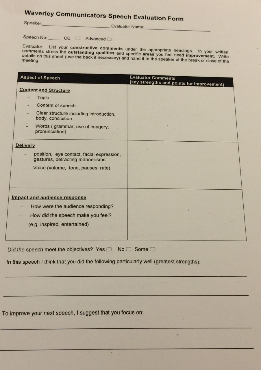 toastmaster evaluation forms